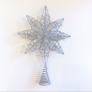 Other - EUC Silver Sequin and Beaded Christmas Tree Topper